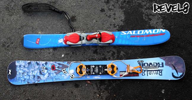 Salomon Snowblade и одна из моделей от Revel8, разница очевидна